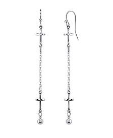 2028 Silver Tone Cross Chain Linear Drop Earrings