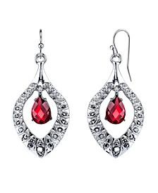 Silver-Tone Siam Red Drop Earrings
