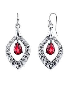2028 Silver-Tone Siam Red Drop Earrings