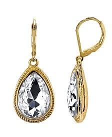 2028 Gold-Tone Crystal Faceted Teardrop Earrings