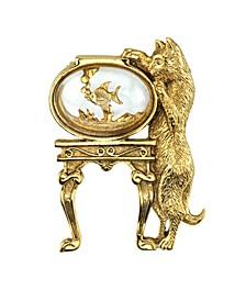 14K Gold-Dipped Crystal Cat and Fish Bowl Pin