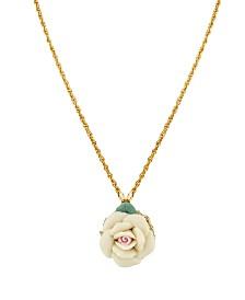 "2028 Gold Tone Porcelain pendant Necklace 16"" Adjustable"