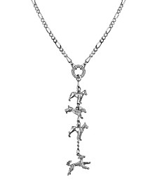 2028 Pewter 4 Dog Charm Necklace 20""