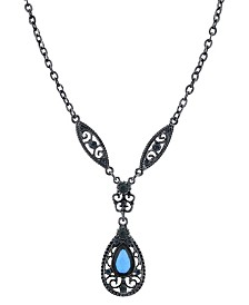"2028 Black-Tone Montana Blue Teardrop Necklace 16"" Adjustable"