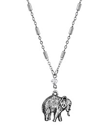 """Pewter Elephant Drop Chain Necklace 16"""" Adjustable"""