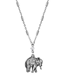 "2028 Pewter Elephant Drop Chain Necklace 16"" Adjustable"