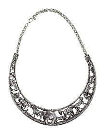 2028 Silver Tone Elephant Collar Necklace