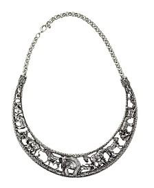 2028 Silver Tone Elephant Collar Necklace