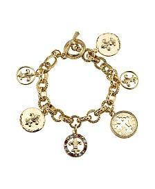 Symbols of Faith 14K Gold-Dipped Toggle Crosses and Fleur Di Lis Medallion Charm Bracelet