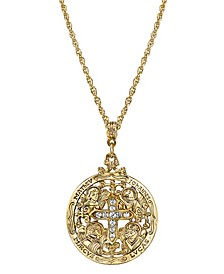 """14K Gold-Dipped Crystal Writers of The Good Word Pendant Necklace 24"""""""