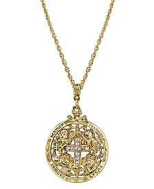 Symbols of Faith 14K Gold-Dipped Crystal Writers of The Good Word Pendant Necklace 24""