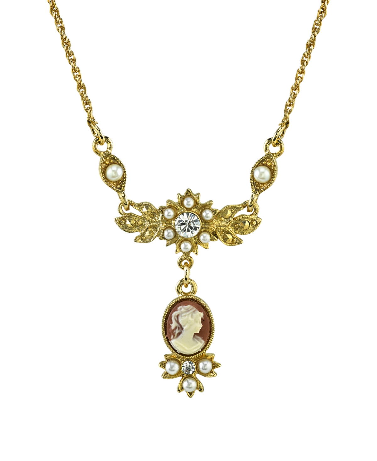 Downton Abbey Gold-Tone Oval Cameo Drop with Crystal Necklace 16