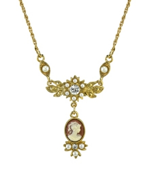 """Gold-Tone Oval Cameo Drop with Crystal Necklace 16"""" Adjustable"""