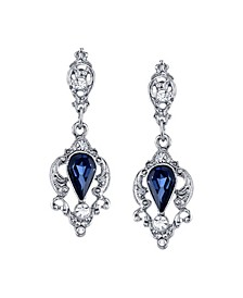Silver-Tone Belle Epoch with Blue Pear Shaped Drop Earrings