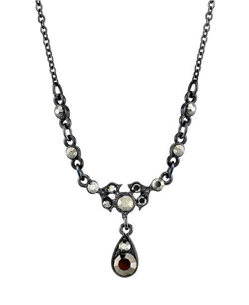 "Downton Abbey Black-Tone Belle Epoch with Hematite Color Stones Drop Necklace 16"" Adjustable"