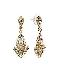 Gold-Tone Crystal Belle Epoch Fan with Simulated Pearl Center Drop Earrings