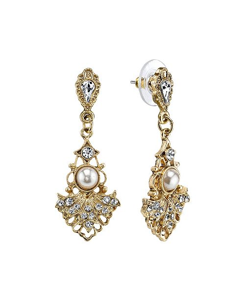 Downton Abbey Gold-Tone Crystal Belle Epoch Fan with Simulated Pearl Center Drop Earrings