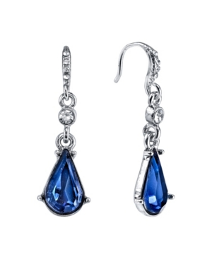 Silver-Tone Blue Crystal Pear shape Drop Earrings