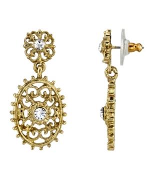 Gold-Tone Crystal Filigree Oval with Aesthetic Beaded Edge Dangle Earrings