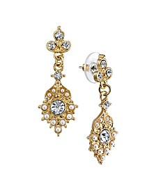 Downton Abbey Gold-Tone Simulated Pearl and Crystal Drop Earrings