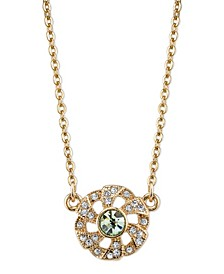 """Gold-Tone Spring Green and Crystal Flower Necklace 16"""" Adjustable"""