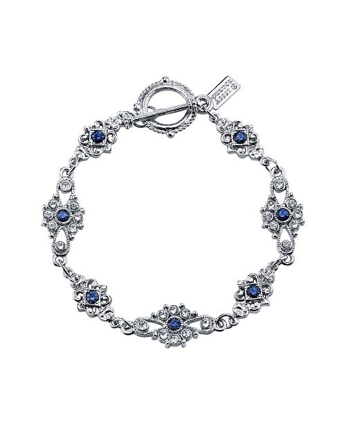 Downton Abbey Silver-Tone Crystal and Blue Crystal Toggle Bracelet