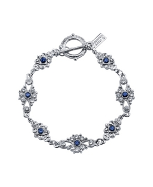 Vintage Style Jewelry, Retro Jewelry Downton Abbey Silver-Tone Crystal and Blue Crystal Toggle Bracelet $38.00 AT vintagedancer.com