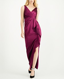Adrianna Papell Ruffled V-Neck Gown