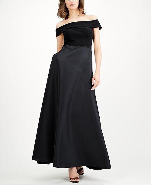 Adrianna Papell Off-The-Shoulder Mikado Gown