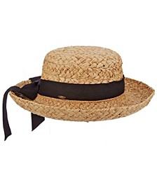 Braided Raffia Upturn Hat with Bow Band