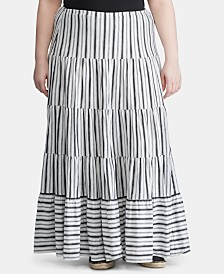 Lauren Ralph Lauren Plus-Size Stripe-Print Jersey Cotton Peasant Skirt