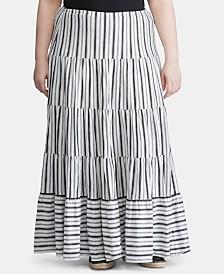 Lauren Ralph Lauren Plus-Size Stripe-Print Jersey Cotton Peasant Skirt