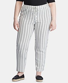 Plus-Size Stripe-Print Straight-Leg Pants