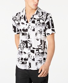 GUESS Men's Rogan Polaroid-Print Shirt