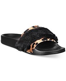 INC Velvet Plush Mixed-Media Slide Slippers, Created for Macy's