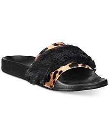 I.N.C. Velvet Plush Mixed-Media Slide Slippers, Created for Macy's