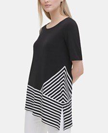 Calvin Klein Colorblocked Asymmetrical Top