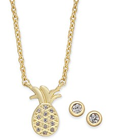"Kitsch Gold-Tone Crystal Pineapple Pendant Necklace & Stud Earrings Set, 17"" + 1"" extender"