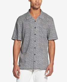 DKNY Men's Floral-Print Linen Shirt