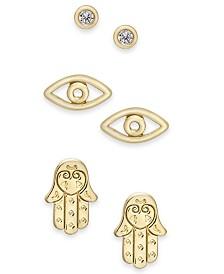 Kitsch Gold-Tone 3-Pc. Set Good Vibes Stud Earrings