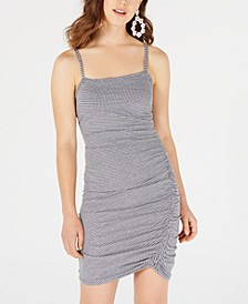 Juniors' Gingham Ruched Slip Dress