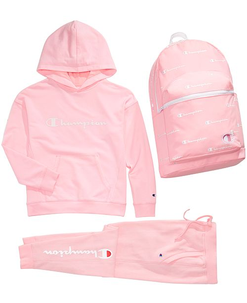 Champion Big Girls French Terry Hoodie, Jogger Pants & Backpack