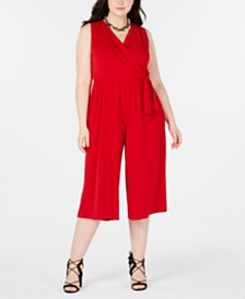Robbie Bee Plus Size Cropped Jumpsuit