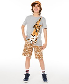 Epic Threads Big Boys Tiger Bolt T-Shirt & Stretch Camouflage Twill Cargo Shorts, Created for Macy's