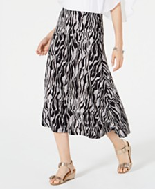 JM Collection Petite Printed Jacquard Skirt, Created for Macys