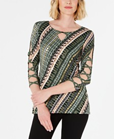 JM Collection Lattice-Trim Printed Top, Created for Macy's