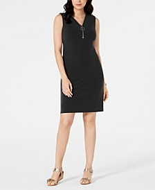 Petite Sleeveless Zip-Neck Dress, Created for Macy's