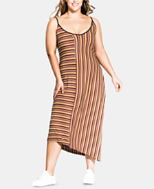 City Chic Trendy Plus Size Retro Striped Dress
