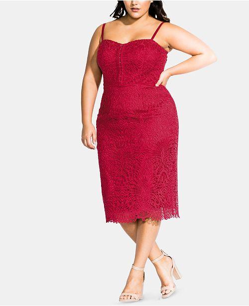 City Chic Trendy Plus Size Strappy Lace Dress