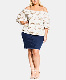 Trendy Plus Size Floral-Print Cold-Shoulder Top